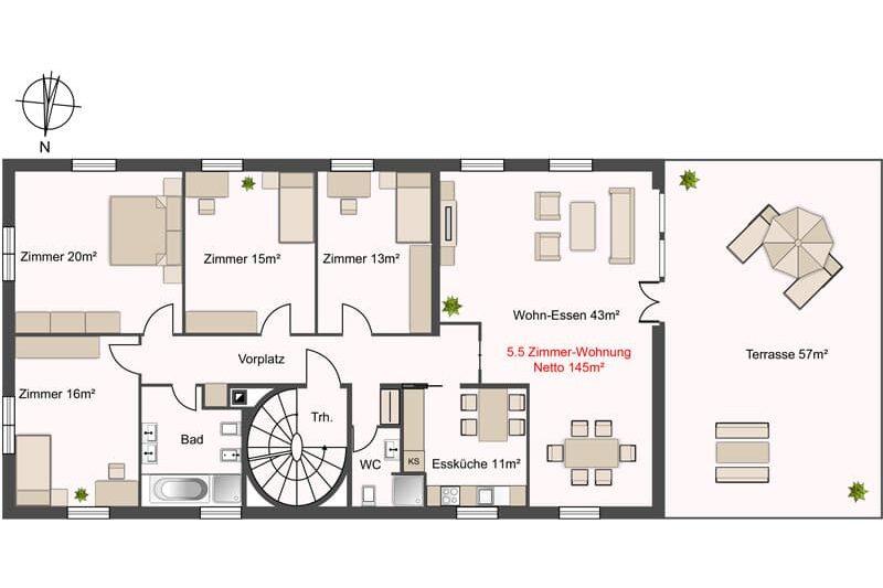 Grundriss 5.5 Zimmer Wohnung Verkauf Gewerbehaus mit Wohnunge in Schlieren