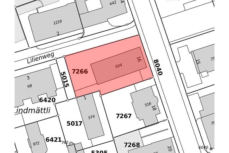 Katasterplan Verkauf Gewerbehaus mit Wohnunge in Schlieren